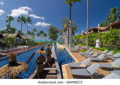 KHAOLAK, THAILAND - NOV 3 : Architecture exterior with swimming pool of the SENTIDO Graceland Khao Lak Resort & Spa.is located 90 kilometres north of Phuket, on November 3, 2013 in Khaolak, Thailand