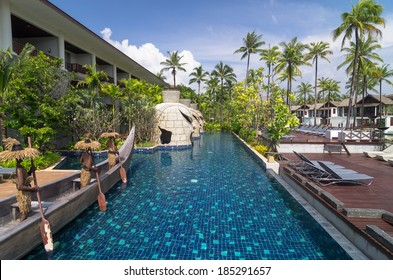 KHAOLAK, THAILAND - OCT 31 : Architecture exterior with swimming pool of the SENTIDO Graceland Khao Lak Resort & Spa.is located 90 kilometres north of Phuket, on October 31, 2013 in Khaolak, Thailand