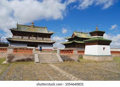 KHARKHORIN, MONGOLIA - AUGUST 22, 2006: Exterior of one of the Erdene Zuu monastery buildings in Kharkhorin, Mongolia. Erdene Zuu monastery is a UNESCO World Heritage site.
