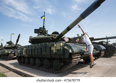 KHARKIV REG., UKRAINE - Aug 23, 2015: Weaponry and military equipment of the armed forces of Ukraine before being sent to the war zone in eastern Ukraine