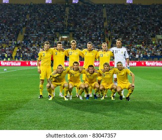 KHARKIV, UA - AUGUST 10: Ukrainian national team at start of Ukraine - Sweden (0:1) national teams friendly football match, August 10, 2011 in Kharkov, Ukraine