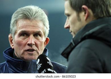 "KHARKIV, UA - FEBRUARY 17: Bayer 04 Leverkusen manager Josef ""Jupp"" Heynckes comments Europa League football match vs. FC Metalist, February 17, 2011 in Kharkiv, Ukraine"