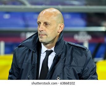 KHARKIV, UA - OCTOBER 21: Domenico Di Carlo Samdoria head-coach at Metalist Kharkiv vs. Sampdoria Genoa Group stage UEFA Europa League football match (2:1), October 21, 2010 in Kharkov, Ukraine