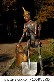 KHARKIV, UKRAINE- 10 October, 2018: Sculpture in the city zoopark is a tin woodcutter from 'The Wizard of Oz', a fairy-tale character from a children's book by the American writer Frank Baum.