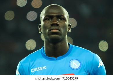 KHARKIV, UKRAINE – 13 SEPTEMBER, 2017: Defender FC Napoli Kalidou Koulibaly during the match of the Champions League Shakhtar (Donetsk) - Napoli (Italy) at Metalist stadium (Kharkiv, Ukraine)