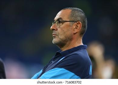 KHARKIV, UKRAINE - 13 SEPTEMBER, 2017: SSC Napoli head coach Maurizio Sarri close-up portrait. Champions League. Shakhtar - Napoli. Metalist stadium