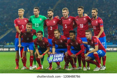 KHARKIV, UKRAINE - 16 OCTOBER 2018: Group photography of the Czech national team during UEFA League match Ukraine - Czech Republic at Metalist Stadium