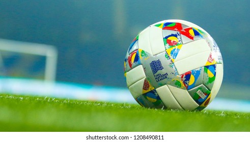 KHARKIV, UKRAINE - 16 OCTOBER 2018: Official ball League of Nations of UEFA during UEFA League match Ukraine - Czech Republic at Metalist Stadium