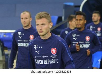 KHARKIV, UKRAINE - 16 OCTOBER 2018: Czech professional footballer Jakub Brabec during UEFA League match Ukraine - Czech Republic at Metalist Stadium