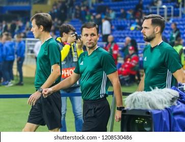 KHARKIV, UKRAINE - 16 OCTOBER 2018: Lithuanian professional football referee Gediminas Mazeika (C) during UEFA League match Ukraine - Czech Republic at Metalist Stadium