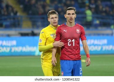 KHARKIV, UKRAINE - 16 OCTOBER 2018: Ukrainian football left defender Mykola Matviyenko during UEFA League match Ukraine - Czech Republic at Metalist Stadium