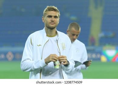 KHARKIV, UKRAINE - 16 OCTOBER 2018: Ukrainian professional footballer Ihor Plastun during UEFA League match Ukraine - Czech Republic at Metalist Stadium