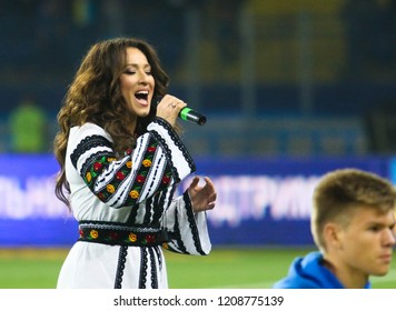 KHARKIV, UKRAINE - 16 OCTOBER 2018: Ukrainian singer Natalka Karpa during UEFA League match Ukraine - Czech Republic at Metalist Stadium
