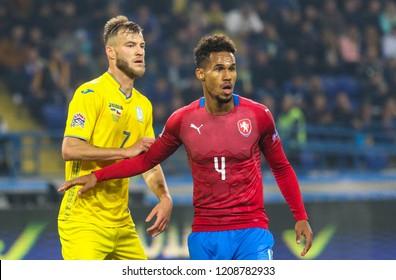 KHARKIV, UKRAINE - 16 OCTOBER 2018: Andriy Yarmolenko and  David Pavelka during UEFA League match Ukraine - Czech Republic at Metalist Stadium