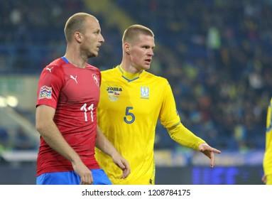 KHARKIV, UKRAINE - 16 OCTOBER 2018:   Michael Krmencik and Mykyta Burda during UEFA League match Ukraine - Czech Republic at Metalist Stadium