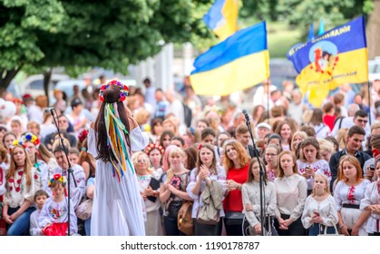 Kharkiv, Ukraine - 17 May 2018 : Singing perfomance of girl for people at the embroidered shirt holiday in Kharkiv