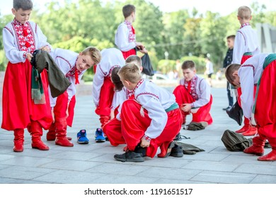 Kharkiv, Ukraine - 17 May 2018 : schoolage boys in unkrainian national suits prepearing for perfomance