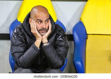 KHARKIV, UKRAINE – 18 SEPTEMBER 2019: Spanish professional football manager Pep Guardiola during UEFA Champions League match Shakhtar - Manchester City at Metalist Stadium