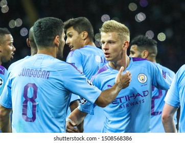 KHARKIV, UKRAINE – 18 SEPTEMBER 2019: Ukrainian professional footballer  Oleksandr Zinchenko during UEFA Champions League match Shakhtar - Manchester City at Metalist Stadium