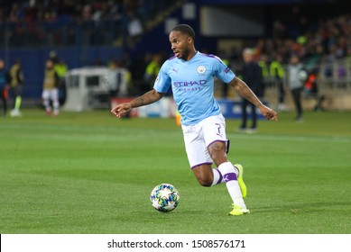 KHARKIV, UKRAINE – 18 SEPTEMBER 2019: English professional footballer  Raheem Sterling during UEFA Champions League match Shakhtar - Manchester City at Metalist Stadium
