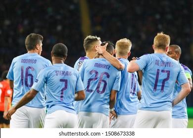 KHARKIV, UKRAINE – 18 SEPTEMBER 2019: Manchester City FC players rejoice in the scoring during UEFA Champions League match Shakhtar - Manchester City at Metalist Stadium