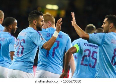 KHARKIV, UKRAINE – 18 SEPTEMBER 2019: Manchester City FC players rejoice in the scoring during UEFA Champions League match Shakhtar - Manchester City at Metalist Stadium
