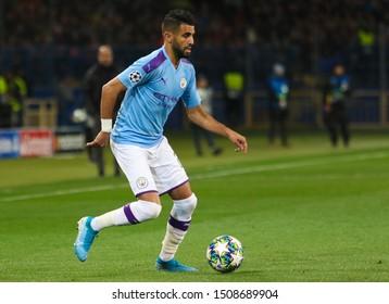 KHARKIV, UKRAINE – 18 SEPTEMBER 2019: Professional footballer Riyad Mahrez during UEFA Champions League match Shakhtar - Manchester City at Metalist Stadium