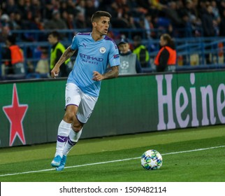 Kharkiv, Ukraine - 18th of September, 2019: Joao Cancelo of Manchester City in action during the UEFA Champion League match between Shakhtar Donetsk against Manchester City at OSK Metallist stadium