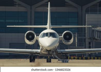 Kharkiv, Ukraine - 19 August 2018: Charter aiplane Learjet 60XR at Kharkiv International airport