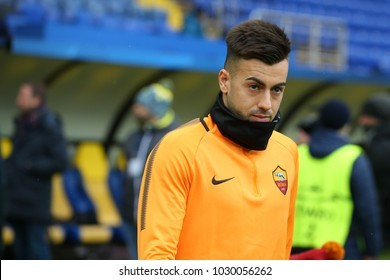 KHARKIV, UKRAINE - 21 FEBRUARY, 2018: Stephan El Shaarawy close-up portrait. Champions League. Shakhtar - Roma pre-match training. Metalist stadium