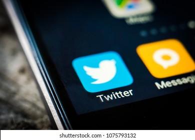 Kharkiv, Ukraine - 23 April, 2018: application icon twitter on a smartphone screen