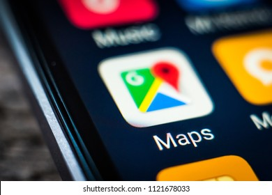 Kharkiv, Ukraine - 23 April, 2018: application icon google maps on a smartphone screen