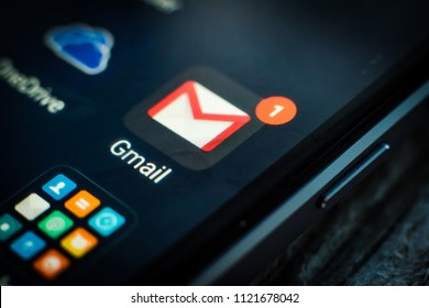 Kharkiv, Ukraine - 23 April, 2018: Gmail application icon on a smartphone screen