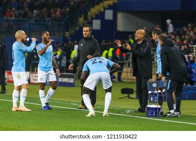 KHARKIV, UKRAINE - 23 OCTOBER 2018: Spanish professional football coach Pep Guardiola during UEFA Champions League match Shakhtar - Manchester City at Metalist Stadium