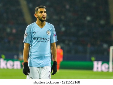 KHARKIV, UKRAINE - 23 OCTOBER 2018: Professional footballer Riyad Mahrez during UEFA Champions League match Shakhtar - Manchester City at Metalist Stadium
