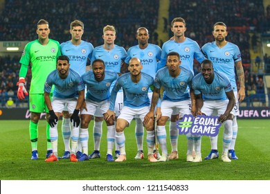 KHARKIV, UKRAINE - 23 OCTOBER 2018: Footballers FC Manchester City during UEFA Champions League match Shakhtar - Manchester City at Metalist Stadium