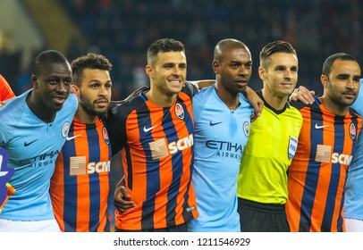 KHARKIV, UKRAINE - 23 OCTOBER 2018: Shakhtar and Manchester City players during UEFA Champions League match Shakhtar - Manchester City at Metalist Stadium