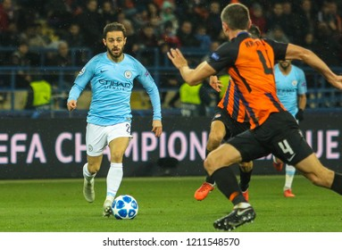KHARKIV, UKRAINE - 23 OCTOBER 2018: Portuguese professional footballer Bernardo Silva during UEFA Champions League match Shakhtar - Manchester City at Metalist Stadium