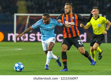 KHARKIV, UKRAINE - 23 OCTOBER 2018: Raheem Sterling and Maycon during UEFA Champions League match Shakhtar - Manchester City at Metalist Stadium