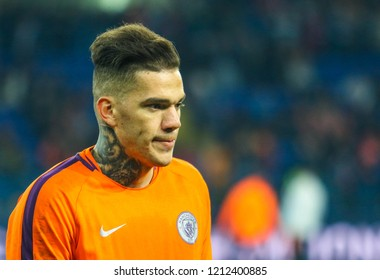 KHARKIV, UKRAINE - 23 OCTOBER 2018: Brazilian professional footballer Ederson during UEFA Champions League match Shakhtar - Manchester City at Metalist Stadium