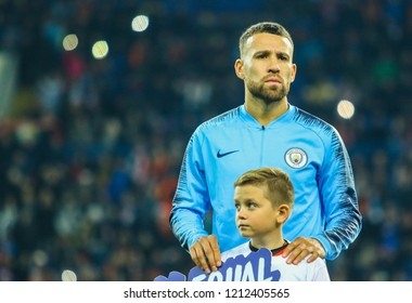 KHARKIV, UKRAINE - 23 OCTOBER 2018: Argentine professional footballer Nicolas Otamendi during UEFA Champions League match Shakhtar - Manchester City at Metalist Stadium