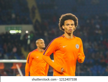 KHARKIV, UKRAINE - 23 OCTOBER 2018: German professional footballer Leroy Sane during UEFA Champions League match Shakhtar - Manchester City at Metalist Stadium