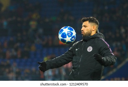 KHARKIV, UKRAINE - 23 OCTOBER 2018: Argentine professional footballer Sergio Aguero during UEFA Champions League match Shakhtar - Manchester City at Metalist Stadium