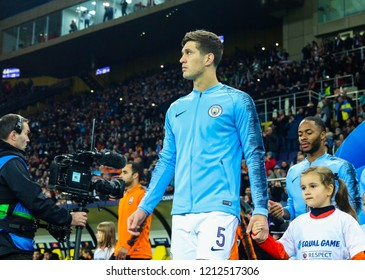 KHARKIV, UKRAINE - 23 OCTOBER 2018:  English professional footballer John Stones during UEFA Champions League match Shakhtar - Manchester City at Metalist Stadium