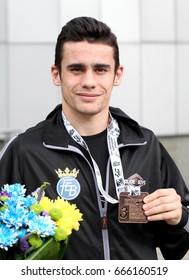 Kharkiv, Ukraine - 24 JUN 2017. Opening EUBC European Boxing Championships 2017. Quiles Brotons Jose (Espania boxing team. Bronse medal at EUBC 56kg)