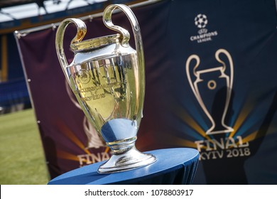 KHARKIV, UKRAINE - 26 APRIL 2018: Close-up view of UEFA Champions League Cup. Trophy awarded by UEFA to UEFA Champions League winner football club. Final match in 2018 will held Kyiv.