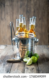 Kharkiv, Ukraine - 30 June, 2020: Illustrative editorial of Corona Beer bottles in the ice bucket