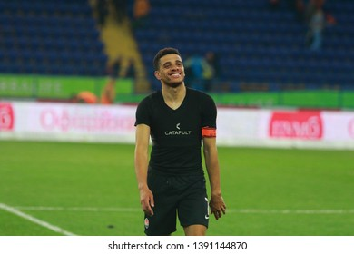 Kharkiv, Ukraine - 4 may, 2019: Taison from Shakhtar Donetsk smaile after the game at Metalist stadium in Kharkiv