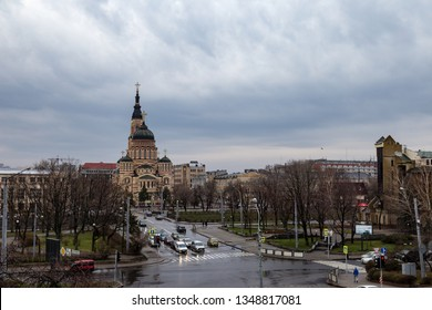 Kharkiv, Ukraine: The Annunciation Cathedral is the most important Orthodox church of Kharkiv. The candy striped cathedral features a pentacupolar Neo-Byzantine structure with an 80 m bell tower