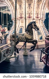 Kharkiv, Ukraine, August 01,2017: Old French carousel in a holiday Gorky Park, Kharkiv